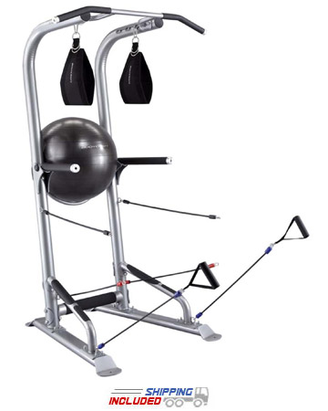 Power Tower with Power Bands and Stability Ball