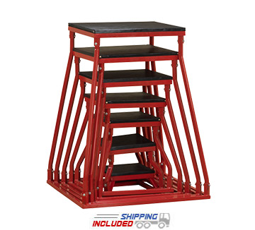 Stackable Red Steel Frame Plyometrics Boxes