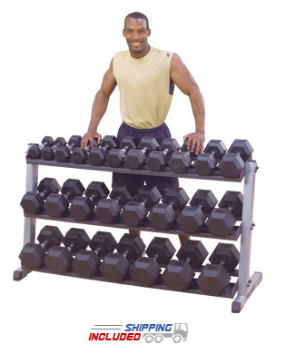 Body-Solid GDR60-GDRT6 3-Tier Rubber Hex Dumbbell Rack