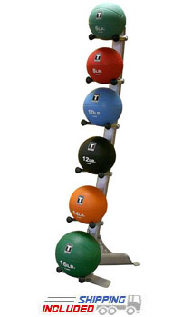 Body Solid 4-14 lb. Medicine Ball Set with Storage Rack