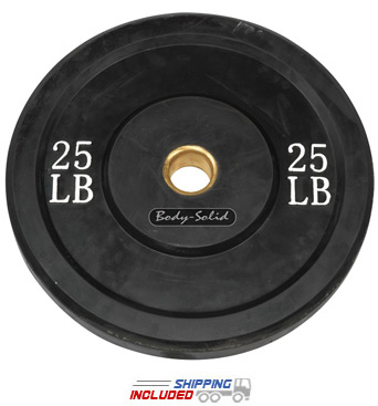 Black Olympic Rubber Bumper Plates - 25 lb pair