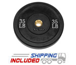 Black Olympic Rubber Bumper Plates - 35 lb pair
