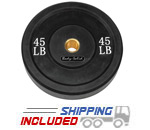 Black Olympic Rubber Bumper Plates - 45 lb pair
