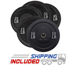 260 lb. Package Black Olympic Rubber Bumper Plates