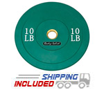 Colored Olympic Rubber Bumper Plates (Green) - 10 lb pair