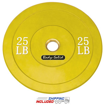 Colored Olympic Rubber Bumper Plates (Yellow) - 25 lb pair