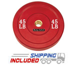 Colored Olympic Rubber Bumper Plates (Red) - 45 lb pair