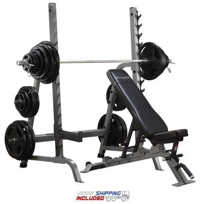 Body-Solid SDIB370 Commercial Bench / Squat Rack Combo Package