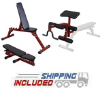 Body-Solid BFFID10R FID Bench with BFPL10R Leg Developer and Preacher Curl