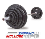 Body-Solid Rubber Encased Olympic Barbell Set