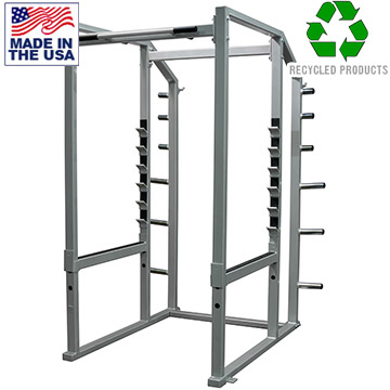 Bomb Proof American Made Weightlifting Power Rack with Plate Storage