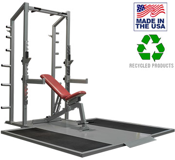USA Made Bomb Proof BP-97 Premium Series Half Rack with Olympic Weightlifting Platform Insert