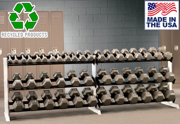 USA Made Bomb Proof BP-48 10' Two-Tier Dumbbell Rack