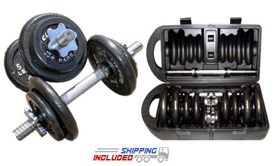 40 lb. Adjustable Dumbbell Set with Carrying Case
