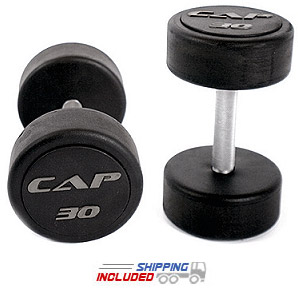 Commercial Rubber Encased Solid Head Dumbbells
