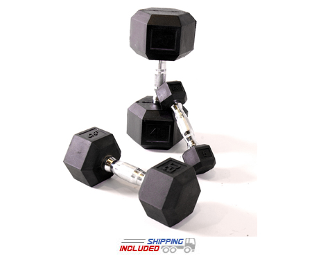 Economy Hex Shaped Rubber Dumbbell Sets