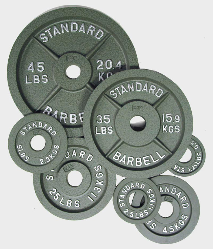 Gray Standard Barbell Olympic Plates