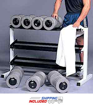 CAP Barbell RK-3E 3-Tier Dumbbell Rack for Pro-Style and Hex Dumbbells