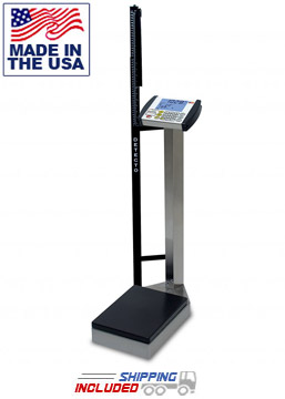 Stainless Steel Digital Waist-High Physician Scale with Height Rod