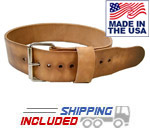 "6.5mm Thick 3"" Treated Leather Deadlift Belt"