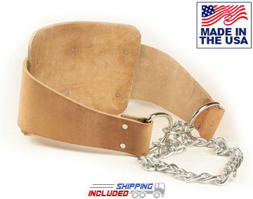 American Made Leather Dipping Belt with Chain