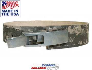 "3"" Wide Leather Camouflage Bench Press Belt with Lever Closure"