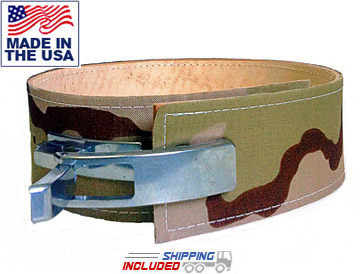 "6.5mm Thick 4"" Camouflage Leather Lever Powerlifting Belt"