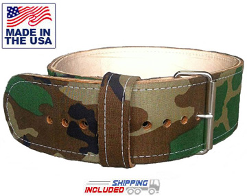 USA Made Woodland Camo Leather Powerlifting Belt