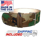 "4"" Leather Powerlifting Belt with Digital Camouflage"