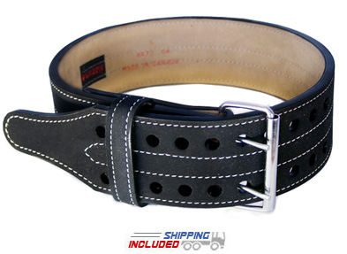 "Grizzly 4"" Double Prong Competition Powerlifting Belt"
