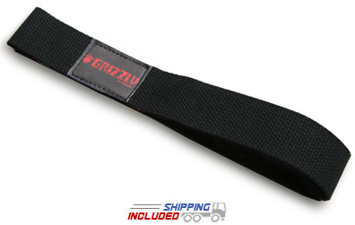 Grizzly Black Cotton Weight Lifting Straps