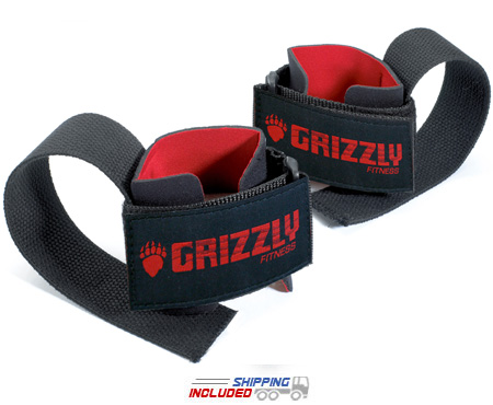 Grizzly Deluxe Cotton Lifting Straps with Neoprene Padding and Velcro