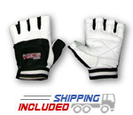 Grizzly Paws Premium White and Black Weightlifting Gloves for Men