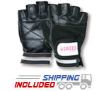 Women's Black Leather Grizzly Paw Weightlifting Gloves