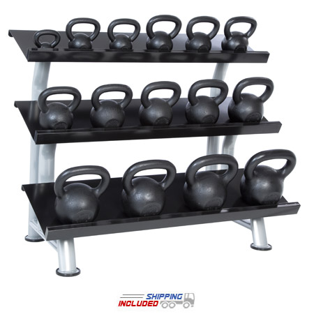 5-100 lb Black Kettlebell Club Pack with 3-Tier Rack