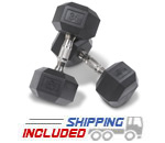 Hampton Dura-Bell Rubber Hex Dumbbells