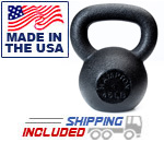 5-50 lb Black Hampton Urethane Coated Kettle Bell Set