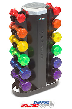 Hampton MV-JB-6 Vertical Rack for Jellybell, Neoprene and Vinyl Dumbbells