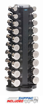 Hampton CP-CH-V10 Chrome Beauty Grip Dumbbell Set with Two-Sided Vertical Dumbbell Rack