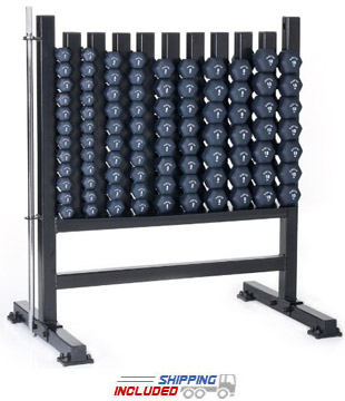 Hampton NHR Aerobic Hex Dumbbell Rack with Security Bar