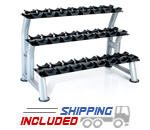 Hampton Fitness 3T-CD-12 3-Tier Chrome Dumbbell Saddle Rack