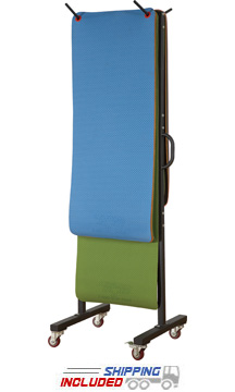 Double-Sided Vertical Mat Rack with Wheels