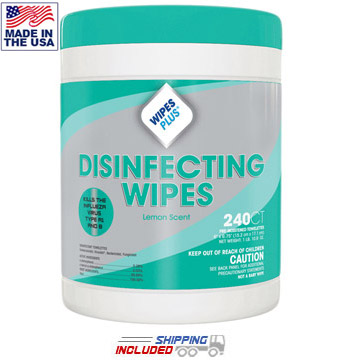 WipesPlus 33900 Lemon Scent Disinfecting Wipes by Wipes Plus
