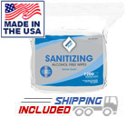 WipesPlus 37402 Sanitizing Alcohol Free Hand Wipes