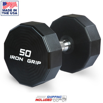 USA Made Iron Grip Urethane Dumbbells with Hard Chrome Handles