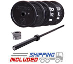 Olympic Black Bumper Plate and Competition Bar Cross-Training Package