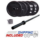 Olympic Black Bumper Plate and Light Commercial Bar
