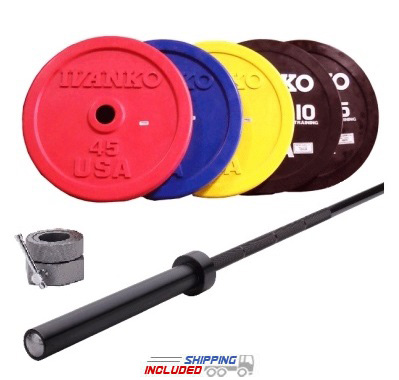 Olympic Colored Bumper Plate and Competition Bar Cross-Training Package