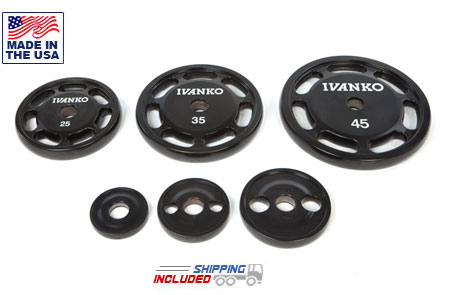 USA Made Ivanko OU Urethane Olympic Barbell Plates with Grip Handles