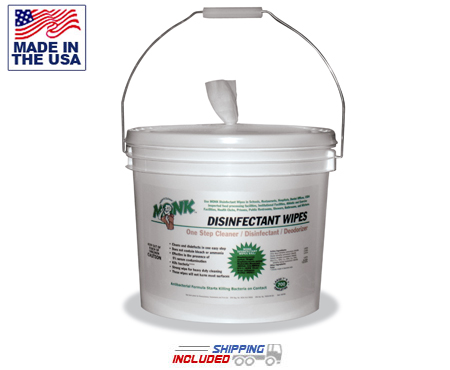 Kleen Machine KM-MONK-B Disinfecting Self-Dispensing Monk Wipes Buckets for Gym Equipment